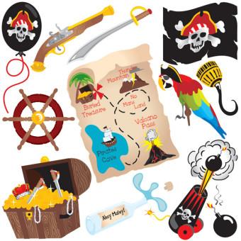 宝の地図・舵・海賊ベクターデータ