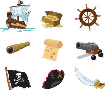 宝の地図・舵・海賊船ベクターデータ