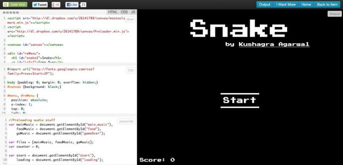HTML5でスネークゲーム