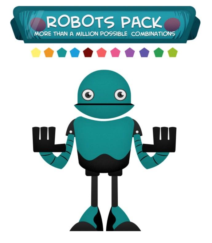フラットデザインのロボットPSDデータ