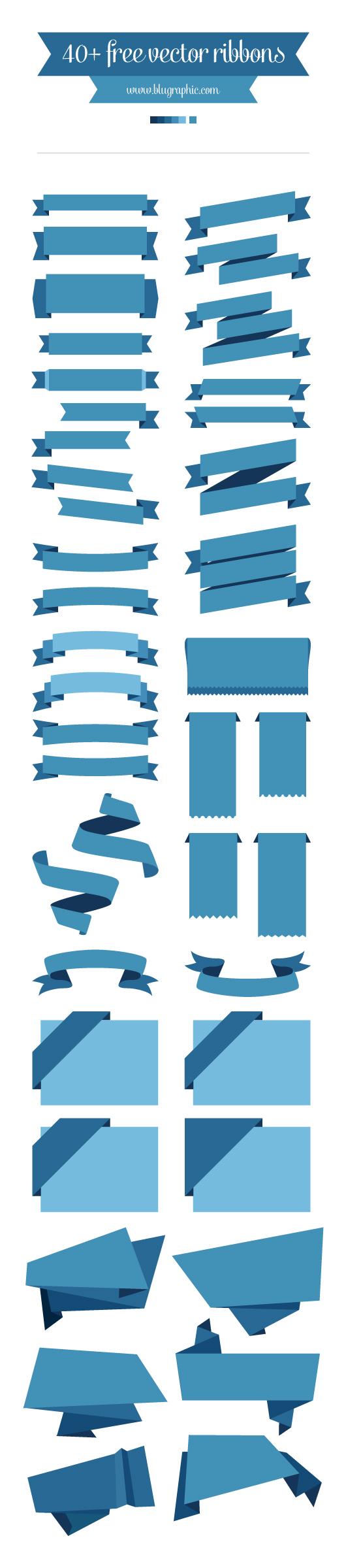 リボンのフラット Illustratorデータ
