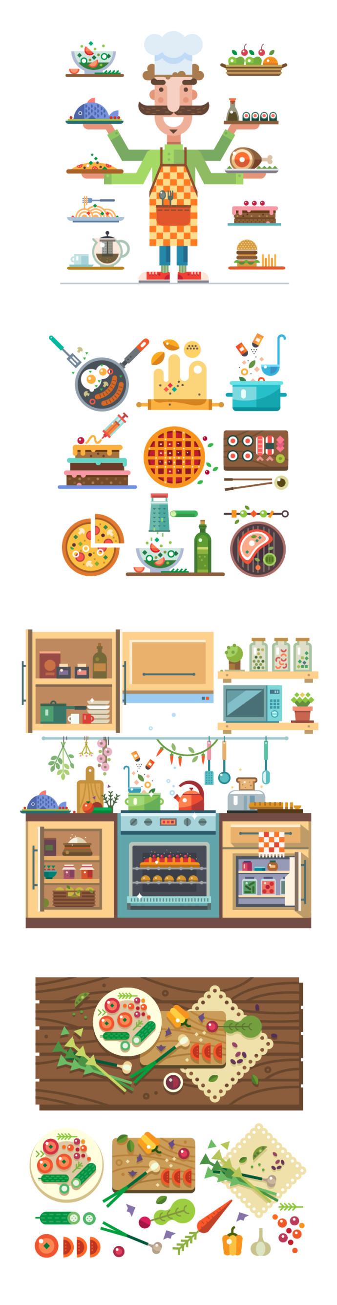 料理・レストランフラットデザイン