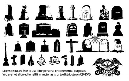 ハロウィン墓石ベクターデータ2