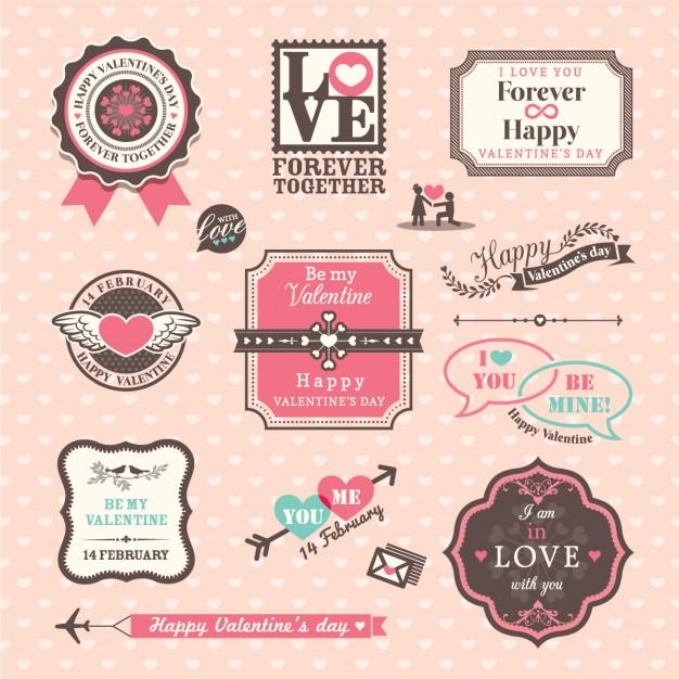 バレンタイン ラベル ベクターデータ