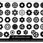 45種類の歯車のシルエット ベクター素材