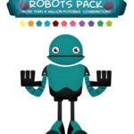 30個のフラットデザインなロボットのPSDデータ