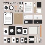 文具・デスクアイテムのフラットデザインPSDデータ