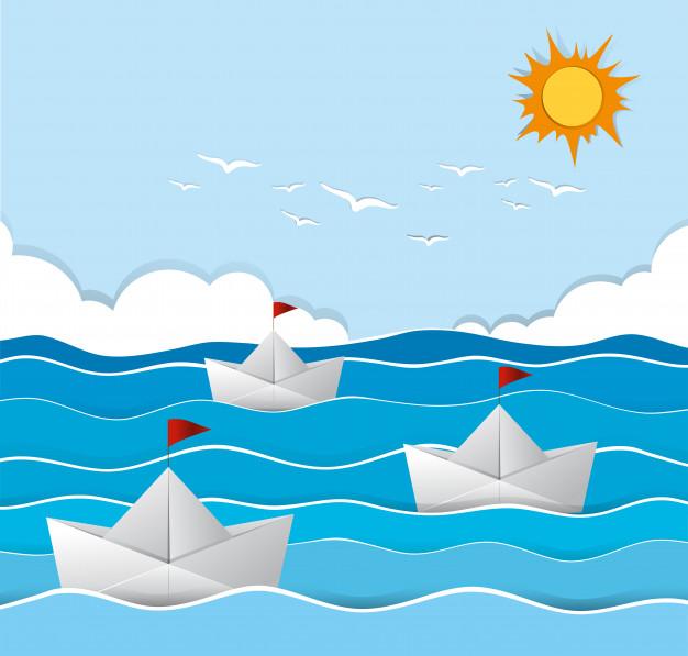 折り紙の船イラスト