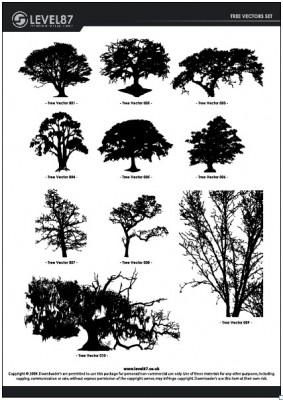 木のシルエットベクター