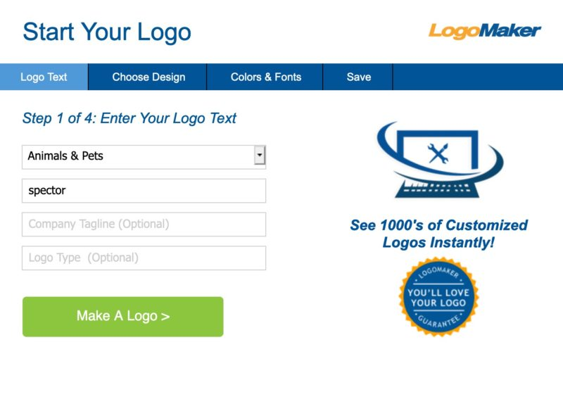 ロゴのアイデアをくれる自動サービス