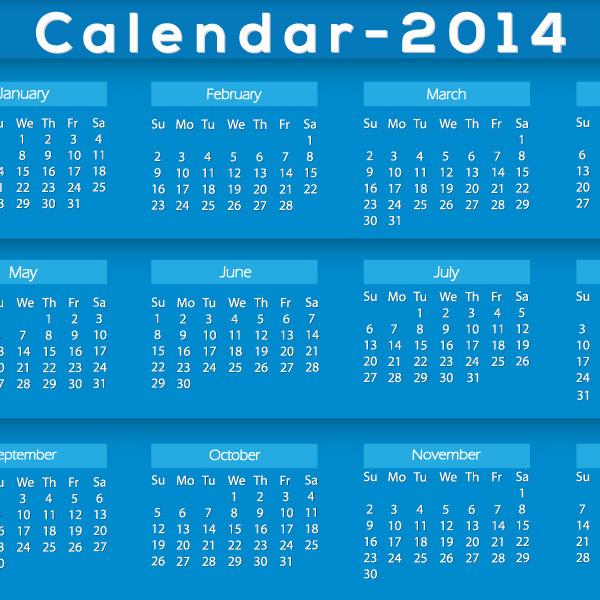 2014年カレンダーベクター素材