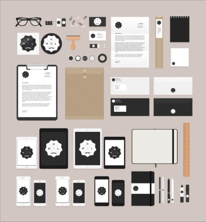 デスクアイテム・文具のフラットデザインPSDデータ