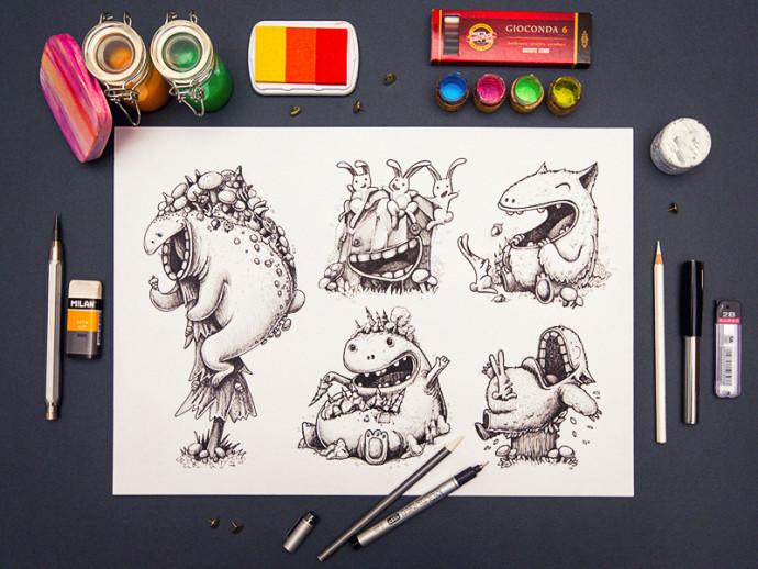 キャラクターデザインのスケッチ段階