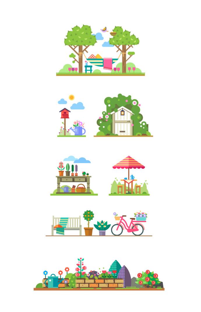 家・風景フラットイラスト