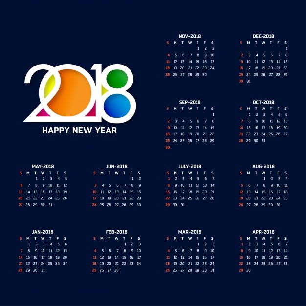 2018年カレンダーたまデザイン