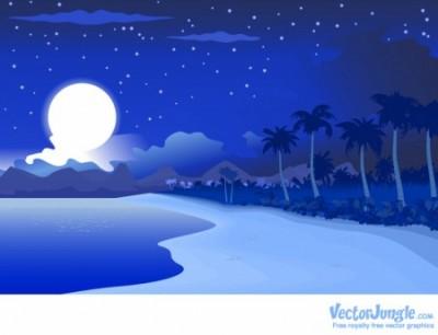 夜の海のベクター素材