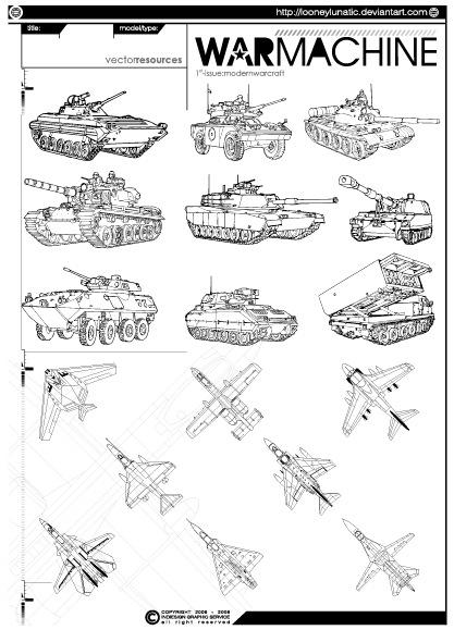 戦車・戦闘機のベクターデータ