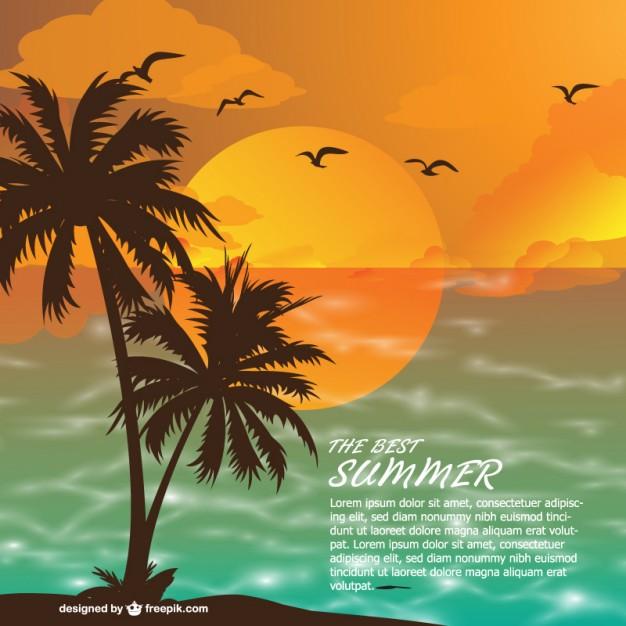 ヤシの木と海の夏イメージイラスト