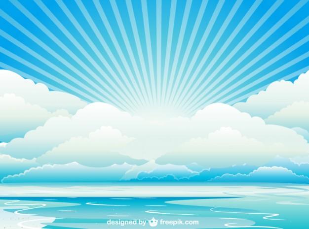 夏空・太陽光・海イラスト